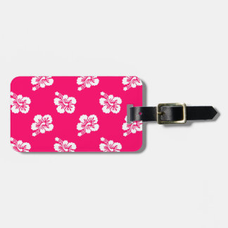 Pink and White Hibiscus Floral Luggage Tag
