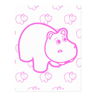 Pink and White Hippo Postcard