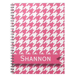 Pink and White Houndstooth Pattern with Nameplate Spiral Notebook