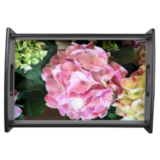 Pink and White Hydrangeas Serving Tray