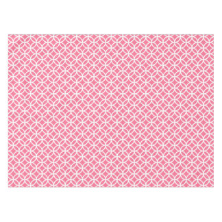 Pink and White Interlinking Circles Tablecloth