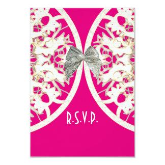 Pink and white lace filigree wedding R.S.V.P 9 Cm X 13 Cm Invitation Card