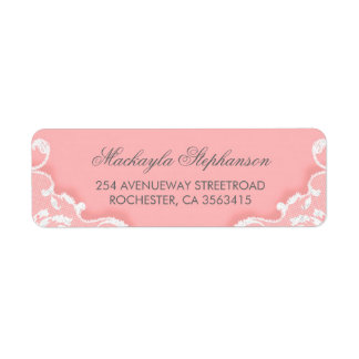 Pink and White Lace Wedding Return Address Label