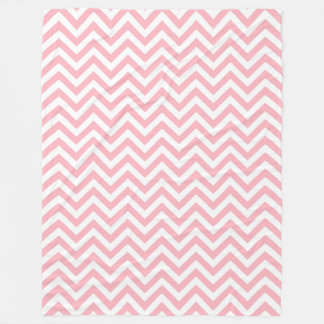 Pink and White Large Chevron ZigZag Pattern Fleece Blanket