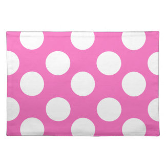 Pink and White Large Polka Dot Placemat