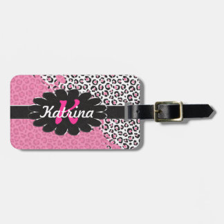 Pink and White Leopard Print with Pink Splatter Luggage Tag