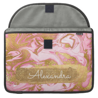 Pink and White Marble with Gold Foil and Glitter Sleeve For MacBooks