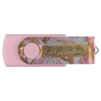 Pink and White Marble with Gold Foil and Glitter USB Flash Drive