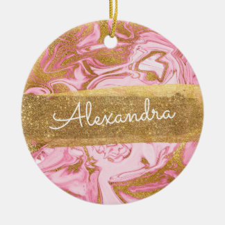Pink and White Marble with Gold Sparkle & Glitter Christmas Ornament