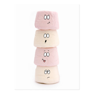 pink and white marshmallow characters postcard