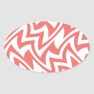 Pink and White Modern Abstract Geometric Patterns Oval Sticker