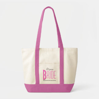 Pink and White Modern Personalized Bride Tote Bag