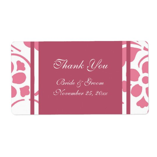 Pink and White Modern Wedding Labels