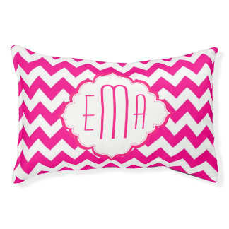 Pink And White Monogram Chevron Pattern Pet Bed
