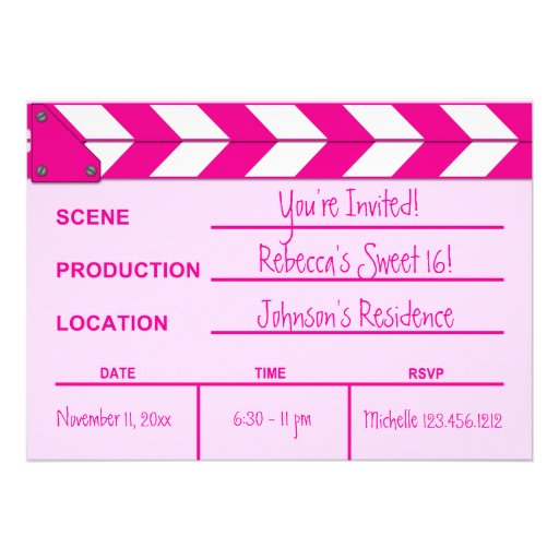 Pink and White Movie Clapboard Sweet 16 invites