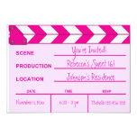 """Pink and White Movie Clapboard Sweet 16 invites 5"""" X 7"""" Invitation Card"""