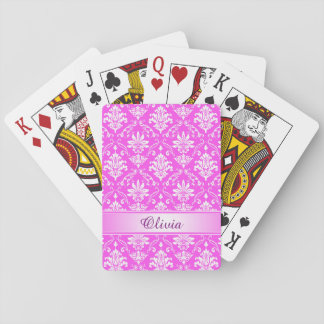 Pink and White Named Damask Playing Cards