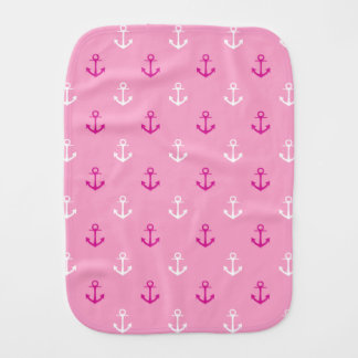 Pink And White Nautical Anchors Pattern Burp Cloth