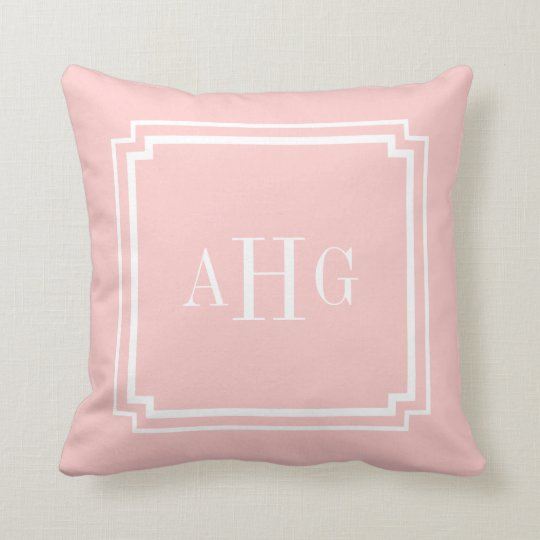 Pink and White Notched Corner Custom Monogram Throw