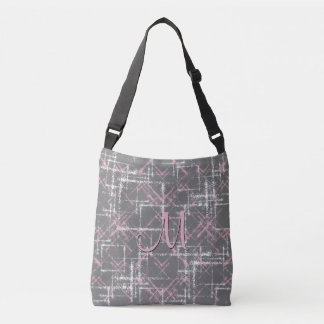 pink and white on gray abstract crisscross pattern crossbody bag