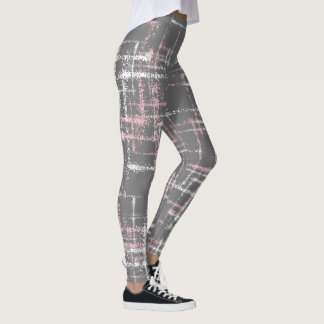 pink and white on gray abstract crisscross pattern leggings