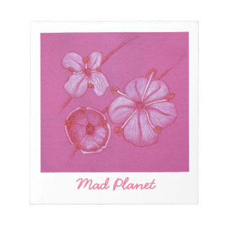 Pink and White Painted Flower Study Notepad