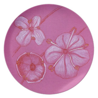 Pink and White Painted Flower Study Plate