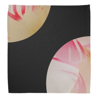 Pink and white pastels on black head kerchiefs