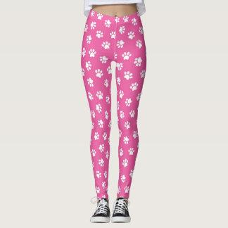 Pink and White Paw Print Leggins Leggings