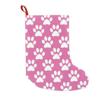Pink and white paws pattern small christmas stocking