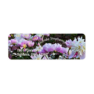 """PINK AND WHITE PEONIES"" RETURN ADDRESS LABELS"