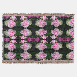 Pink and White Peonies Throw Blanket