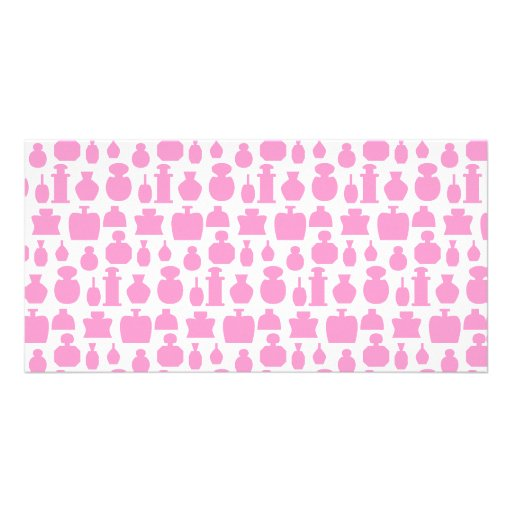 Pink and White Perfume Bottle Pattern. Personalized Photo Card