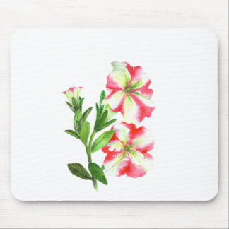 Pink and White Petunias Floral Art Mouse Mat