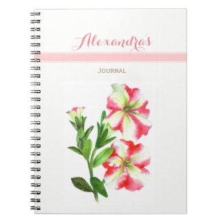 Pink and White Petunias Floral Art Notebook