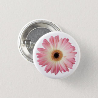 Pink and White Photographic Gerbera Daisy Flower 3 Cm Round Badge