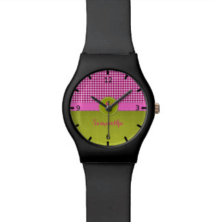 Pink and White Plaid Fresh Green Monogram Watch