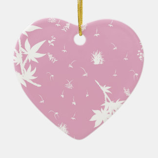 Pink and White Plants Christmas Ornament