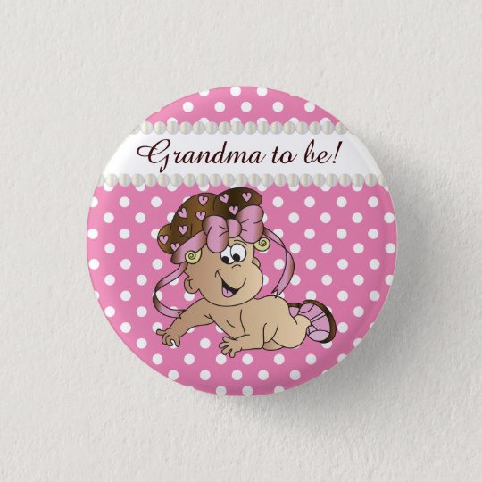 Pink and White Polka Dot   Baby Girl 3 Cm Round Badge