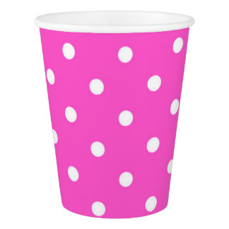 Pink and white polka dot glamour modern paper cup