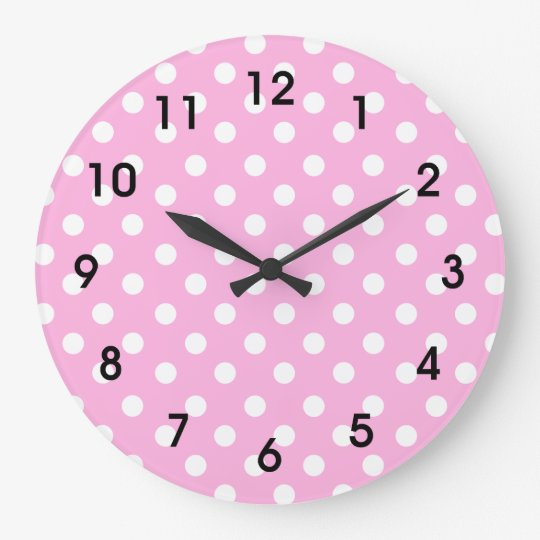 Pink and white polka dot large clock