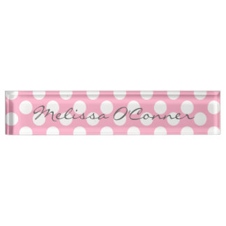 Pink and White Polka Dot Name Plate