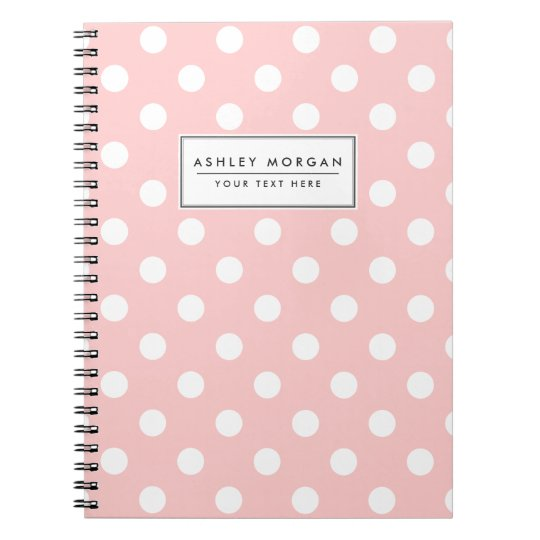 Pink and White Polka Dot Pattern Notebooks