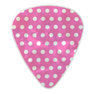 Pink and white polka dot pattern pearl celluloid guitar pick