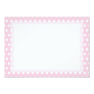 Pink and White Polka Dot Pattern. Spotty. 13 Cm X 18 Cm Invitation Card