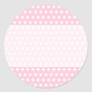 Pink and White Polka Dot Pattern. Spotty. Classic Round Sticker