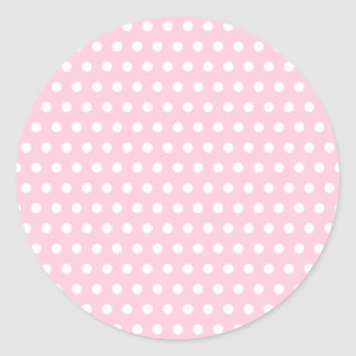 Pink and White Polka Dot Pattern. Spotty. Classic Round Sticker