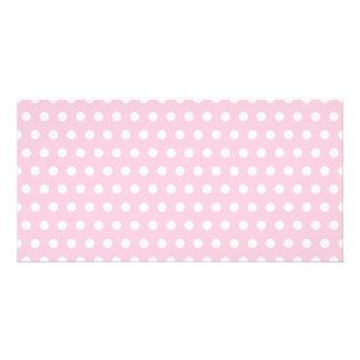 Pink and White Polka Dot Pattern. Spotty. Customized Photo Card