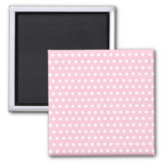 Pink and White Polka Dot Pattern. Spotty. Square Magnet