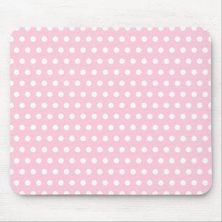 Pink and White Polka Dot Pattern Spotty Mousepads
